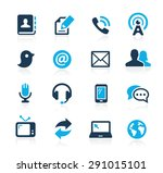 communications icons    azure... | Shutterstock .eps vector #291015101