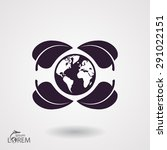 earth and leaf icon. vector ... | Shutterstock .eps vector #291022151