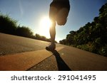 young fitness woman running on... | Shutterstock . vector #291041495