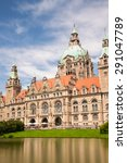 Stock photo the new town hall or new city hall with blue cloud sky in hanover germany 291047789