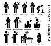 indigestion symptoms problem... | Shutterstock . vector #291047975