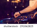 dj hands on the remote.... | Shutterstock . vector #291062825