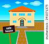 house offered for sale  against ... | Shutterstock .eps vector #291071375