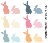 colorful easter bunny silhouette   Shutterstock .eps vector #291075737