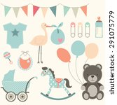 baby shower elements | Shutterstock .eps vector #291075779