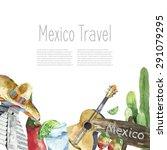 Watercolor Mexico Landmark...