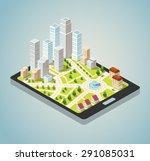 supermarkets  skyscrapers and... | Shutterstock . vector #291085031
