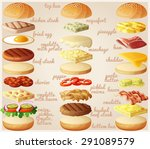 burgers set. ingredients  buns  ... | Shutterstock .eps vector #291089579