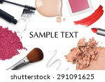 brush and cosmetic on a white... | Shutterstock . vector #291091625