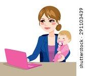 focused mother multitasking... | Shutterstock .eps vector #291103439