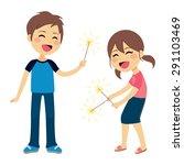 cute children boy and girl... | Shutterstock .eps vector #291103469