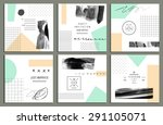 collection of trendy cards with ... | Shutterstock .eps vector #291105071