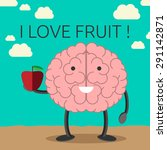 smiling brain character holding ... | Shutterstock . vector #291142871