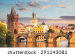 prague   charles bridge  czech... | Shutterstock . vector #291143081