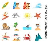 surfing icons flat set with... | Shutterstock .eps vector #291159551