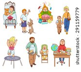 parents caring for children and ... | Shutterstock .eps vector #291159779