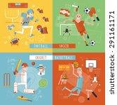 american football basketball... | Shutterstock .eps vector #291161171