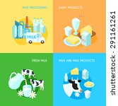 fresh milk dairy products... | Shutterstock .eps vector #291161261