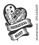 black and white mechanical...   Shutterstock .eps vector #291165635