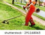 lawn mower worker man cutting...   Shutterstock . vector #291168065