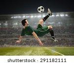 soccer player kicking the ball... | Shutterstock . vector #291182111