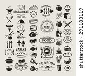food logotypes set. restaurant... | Shutterstock .eps vector #291183119