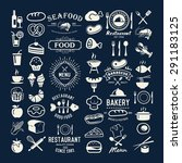 food logotypes set. restaurant... | Shutterstock .eps vector #291183125