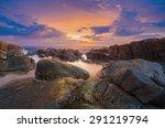 sunset and rock seascape...   Shutterstock . vector #291219794