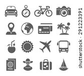 traveling and transport icons... | Shutterstock . vector #291223391
