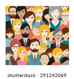 flat people heads patter.... | Shutterstock .eps vector #291242069