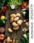 vegetables on wood. bio healthy ... | Shutterstock . vector #291243779