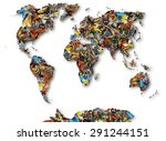world map of butterflies. | Shutterstock . vector #291244151