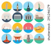 travel landmarks icon set | Shutterstock .eps vector #291246179