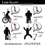 set of limb injury   stick man...   Shutterstock .eps vector #291253769