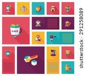 coffee flat ui background set  | Shutterstock . vector #291258089