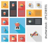 coffee flat ui background set  | Shutterstock . vector #291258551