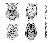 four different owls   owl... | Shutterstock .eps vector #291259769
