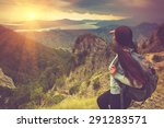 young traveler with backpack... | Shutterstock . vector #291283571