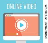 online video flat illustration. ... | Shutterstock .eps vector #291283925