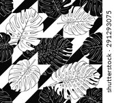seamless pattern with leaves... | Shutterstock .eps vector #291293075