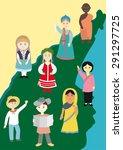 children on planet earth | Shutterstock .eps vector #291297725