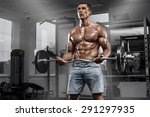 muscular man working out in gym ... | Shutterstock . vector #291297935