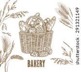 bakery basket template. hand... | Shutterstock . vector #291321149
