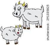 mom and baby goat cartoon... | Shutterstock .eps vector #291335825