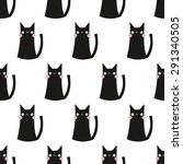 Seamless Pattern Cat Vector Ar...