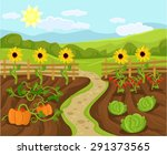 vector garden flat cartoon...