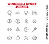 winners and sport linear icons... | Shutterstock .eps vector #291378539
