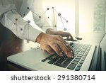 businessman hand working with... | Shutterstock . vector #291380714