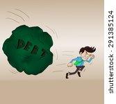 the man ran out of debt rock | Shutterstock .eps vector #291385124