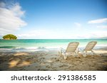 tropical beach with coconut... | Shutterstock . vector #291386585